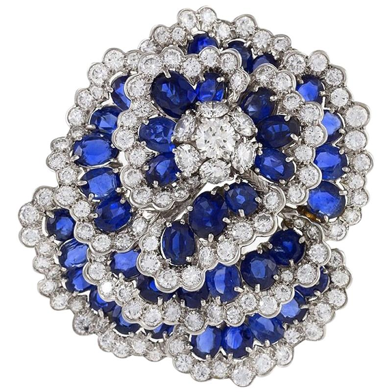 "Van Cleef & Arpels Sapphire and Diamond ""Camellia"" Brooch"