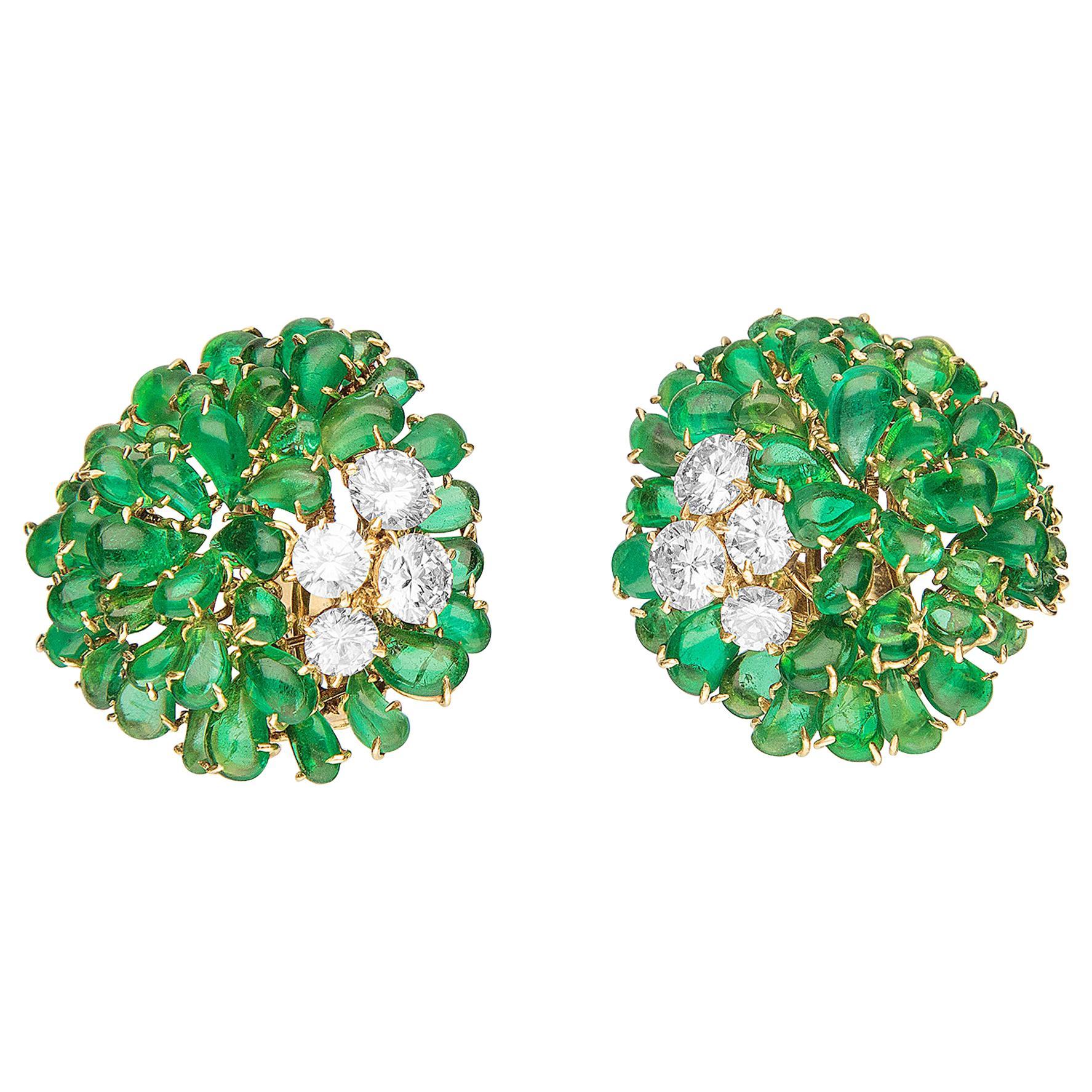 Van Cleef & Arpels 1960s Emerald and Diamond Earrings