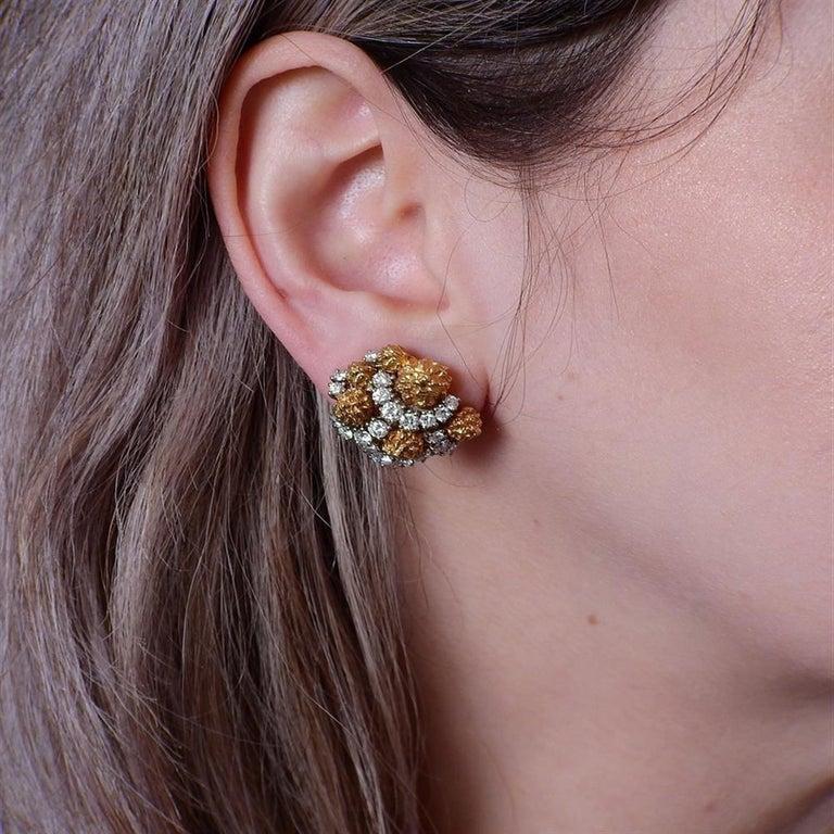 Women's Van Cleef & Arpels 1960s Gold Diamond Earrings For Sale