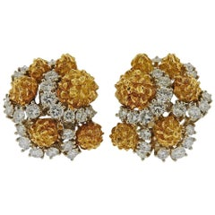 Van Cleef & Arpels 1960s Gold Diamond Earrings