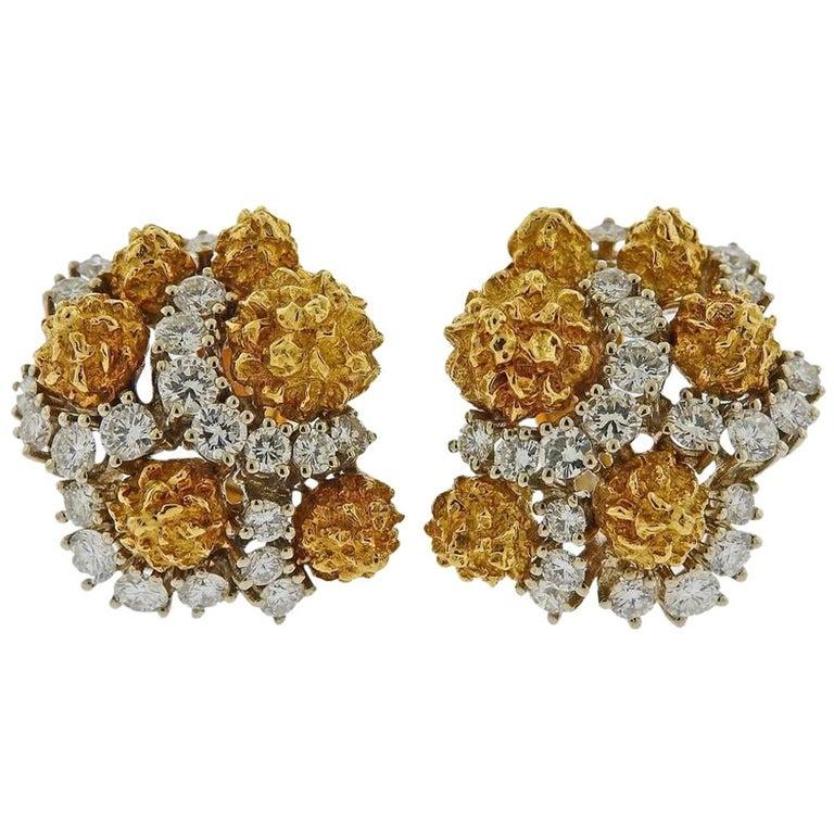 Van Cleef & Arpels 1960s Gold Diamond Earrings For Sale
