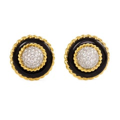 Van Cleef & Arpels 1960s Onyx and Diamond Button Earrings with Gold Borders