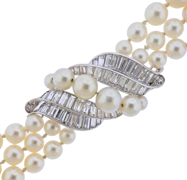 Vintage circa 1960s Van Cleef & Arpels bracelet, set with 3 strands of 5.3mm to 8.5mm pearls and approx. 4.50-5.00ctw in FG/VVS diamonds. Bracelet is 7.5