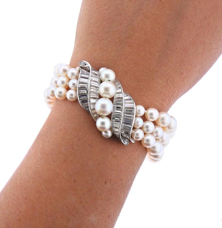 Van Cleef & Arpels 1960s Pearl Diamond Platinum Bracelet For Sale 1