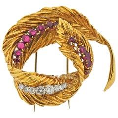 Van Cleef & Arpels 1960s Ruby Diamond Gold Platinum Feather Brooch Pin
