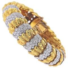 Van Cleef & Arpels 1960s Textured Gold Diamond Bracelet