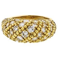 Van Cleef & Arpels 1970s 18 Karat Yellow Gold 2.50 Carat Dome Diamond Ring