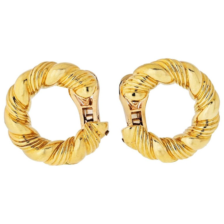 Van Cleef & Arpels 1970s 18 Karat Yellow Gold Twisted Hoop Earrings For Sale