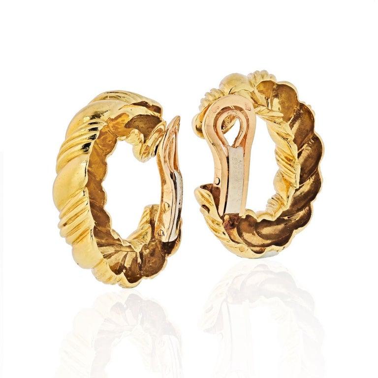 Modern Van Cleef & Arpels 1970s 18 Karat Yellow Gold Twisted Hoop Earrings For Sale
