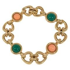 Van Cleef & Arpels 1970s Gold, Coral, and Chrysoprase Link Bracelet