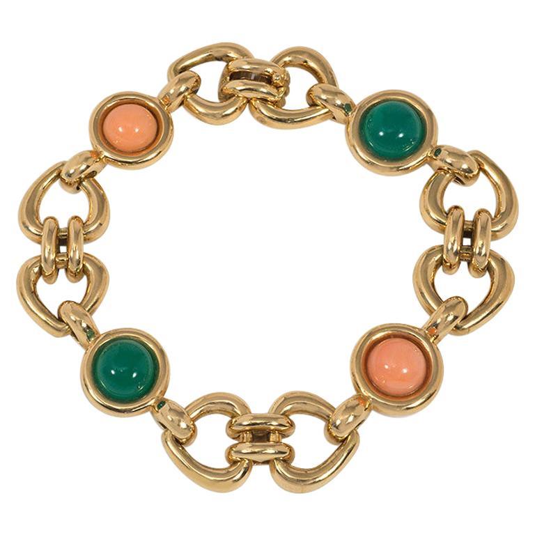 Van Cleef & Arpels 1970s Gold, Coral, and Chrysoprase Link Bracelet For Sale