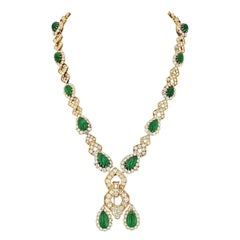 Van Cleef & Arpels 1970s Green Emerald and Diamond Sautoir Convertible Necklace