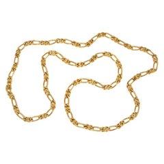 Van Cleef & Arpels 1970s Long Gold Figaro Link Necklace