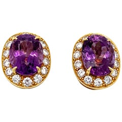 Van Cleef & Arpels 1980s Amethyst and Diamond Earrings