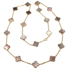 Van Cleef & Arpels 20 Grey Mother of Pearl Vintage Alhambra Yellow Gold Necklace