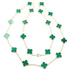 Van Cleef & Arpels 20 Motif Green Chalcedony Vintage Alhambra Gold Necklace
