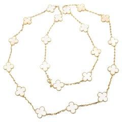 Van Cleef & Arpels 20 Motif Mother of Pearl Vintage Alhambra Gold Necklace