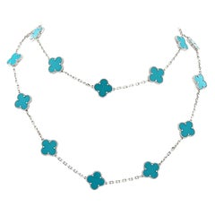 Van Cleef & Arpels 20 Motif Turquoise Alhambra Necklace