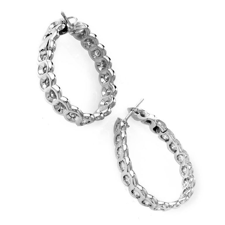 Van Cleef & Arpels 2.50 Carat Diamond 18 Karat White Gold Hoop Earrings In Excellent Condition For Sale In Southhampton, PA
