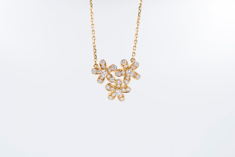 Van Cleef & Arpels 3-Flower Pendant Necklace In Excellent Condition In New York, NY