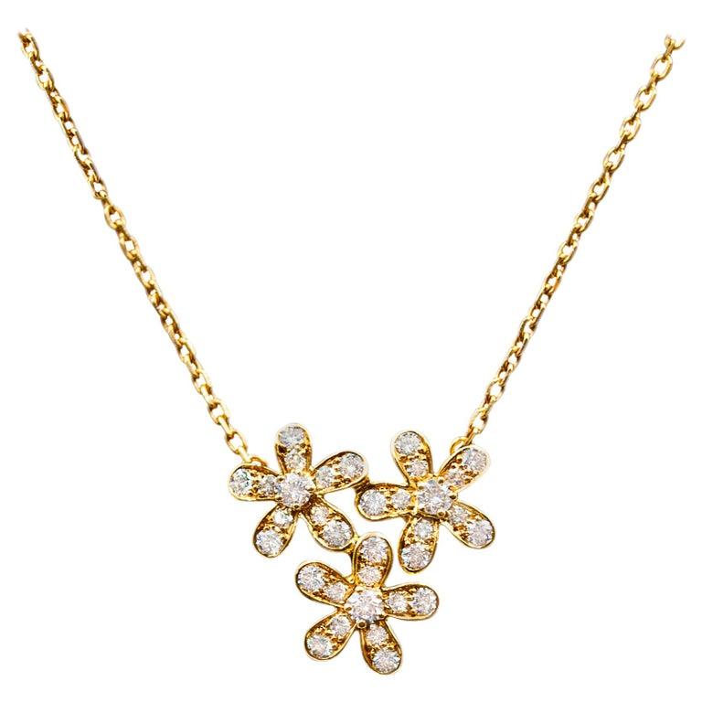 Van Cleef & Arpels 3-Flower Pendant Necklace