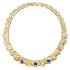 Van Cleef & Arpels 30cts Diamond Sapphire Necklace in 18 Karat Gold
