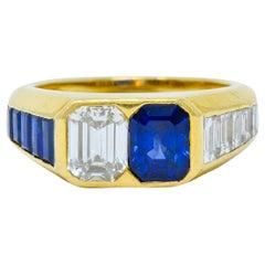 Van Cleef & Arpels 3.57 Carat Diamond Sapphire 18 Karat Gold French Unisex Ring