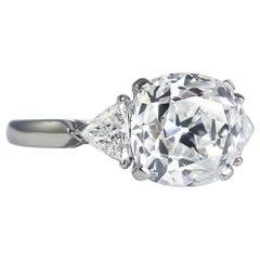 Van Cleef & Arpels 4.02 Carat E IF Old Mine Cut Diamond Three-Stone Ring