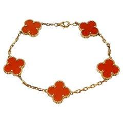 Van Cleef & Arpels 5 Motif Vintage Alhambra Carnelian Bracelet