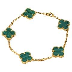 Van Cleef & Arpels 5 Motif Vintage Alhambra Malachite Bracelet