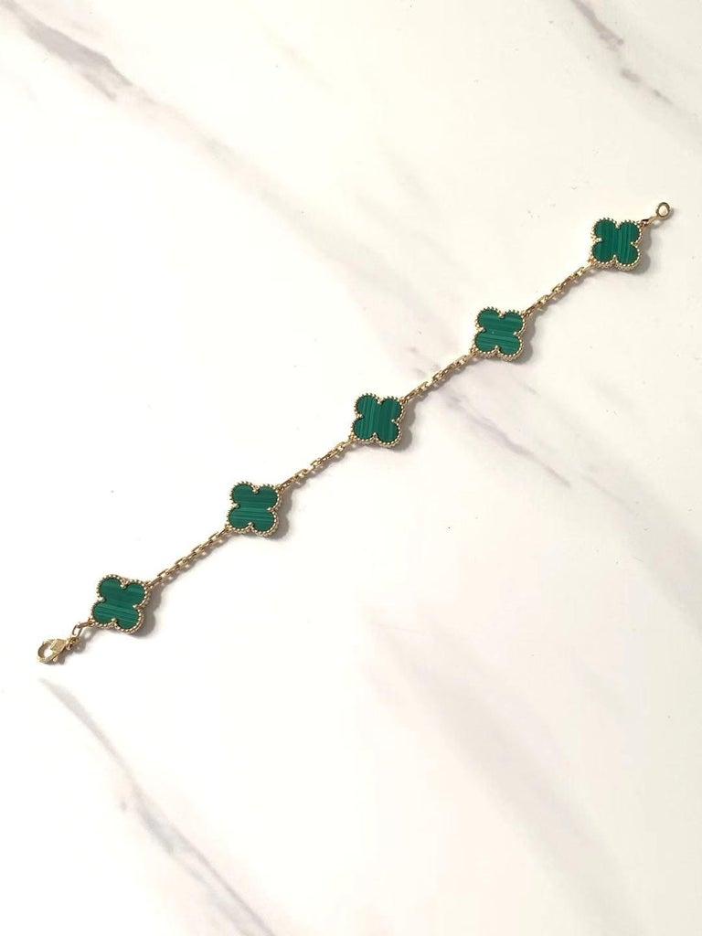 Uncut Van Cleef & Arpels 5 Motif Vintage Alhambra Malachite Gold Bracelet
