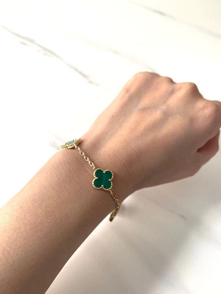 Van Cleef & Arpels 5 Motif Vintage Alhambra Malachite Gold Bracelet 2