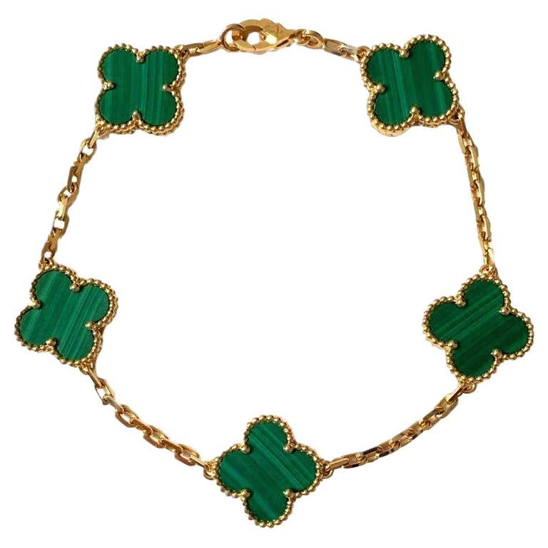 Van Cleef & Arpels 5 Motif Vintage Alhambra Malachite Gold Bracelet