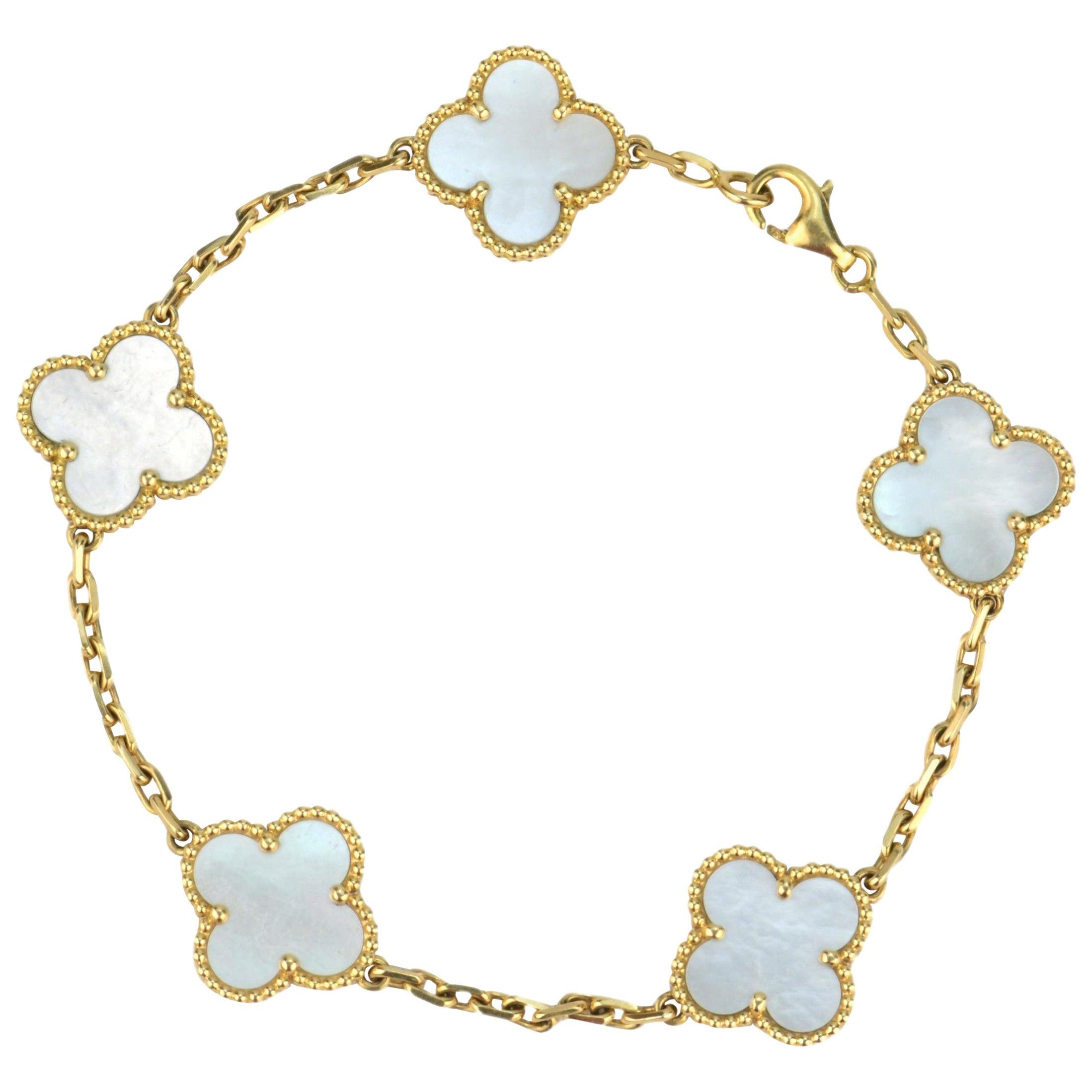 Van Cleef & Arpels 5 Motif Vintage Alhambra Mother of Pearl Bracelet