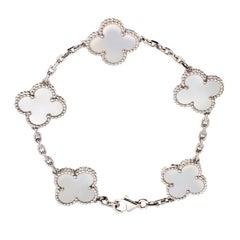 Van Cleef & Arpels 5 Motif Vintage Alhambra Mother of Pearl White Gold Bracelet