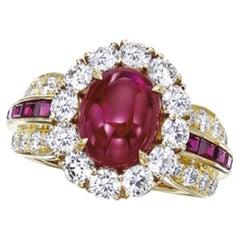 Van Cleef & Arpels 5.23 Carat Cabochon Calibre Ruby Diamond Ring
