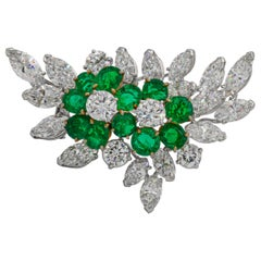 Van Cleef & Arpels 6+ Carat Emeralds and 12 Carat Diamonds Platinum Brooch