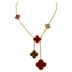 Van Cleef & Arpels 6 Motif Carnelian and Tigers Eye Alhambra Necklace