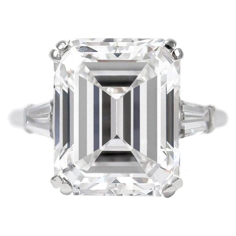 Van Cleef & Arpels 8.94 Carat E VVS1 Emerald Cut Diamond Ring For Sale