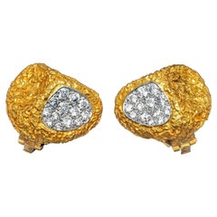 Van Cleef & Arpels Abstract Diamond Textured Yellow Gold  Ear Clips, circa 1965