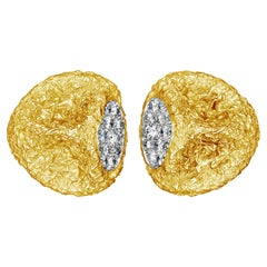 Van Cleef & Arpels Abstract textured 18 Carat Gold Diamond Earrings  1965
