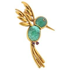 Van Cleef & Arpels Adorable Gold Emerald Ruby Hummingbird Brooch
