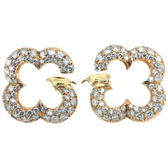 Van Cleef & Arpels Alhambra 18 Karat Gold Earrings Diamond Pavé Clips