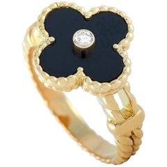 Van Cleef & Arpels Alhambra 18 Karat Yellow Gold Diamond and Onyx Ring