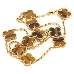Van Cleef & Arpels Alhambra 18K Elegant Tigers Eye 10-Charm Necklace w/ Box