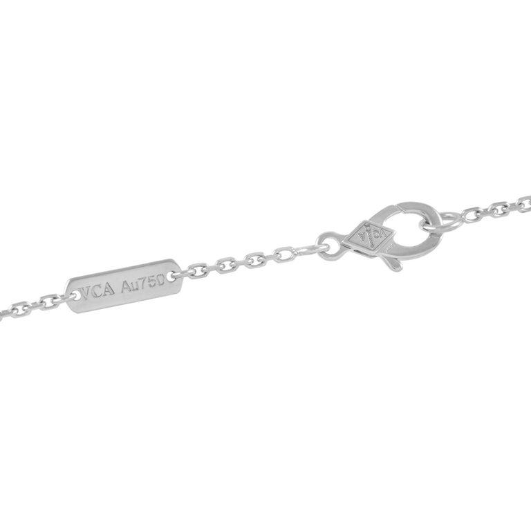Round Cut Van Cleef & Arpels Alhambra 18k White Gold 0.48 Ct Diamond Pendant Necklace