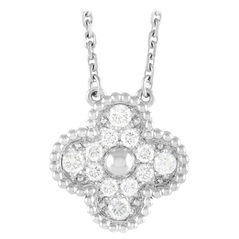 Van Cleef & Arpels Alhambra 18k White Gold 0.48 Ct Diamond Pendant Necklace