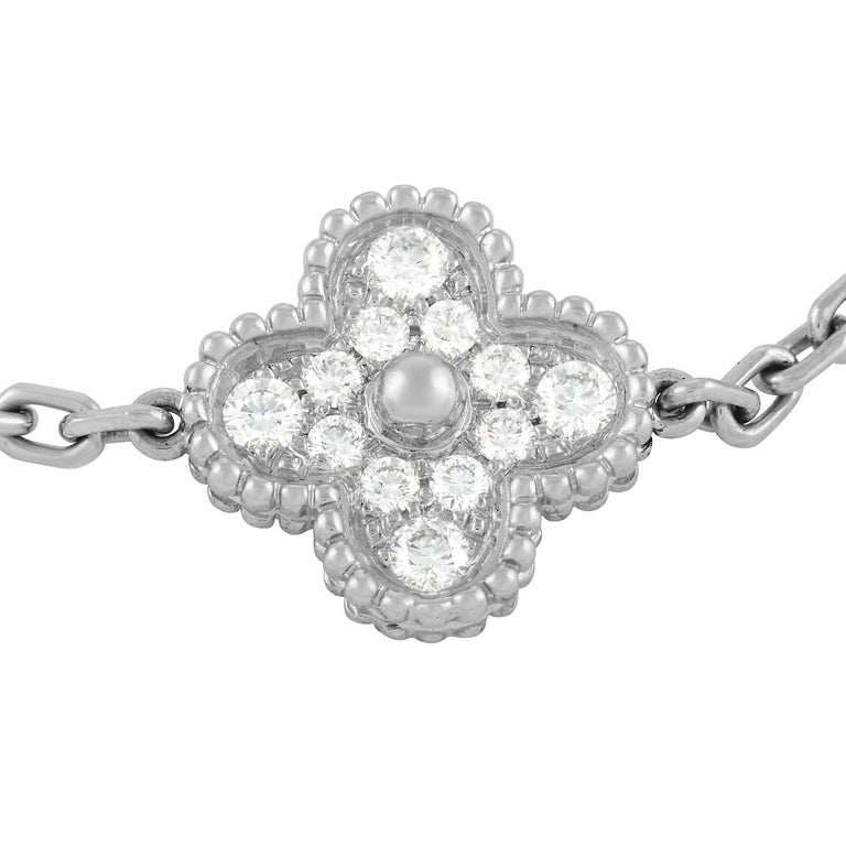 """If you consider yourself a minimalist, this sophisticated Van Cleef & Arpels Alhambra bracelet will align with your aesthetic. Made from decadent 18K White Gold, this 7.5"""" long bracelet is accented by 5 of the brand's iconic clovers. An impressive"""
