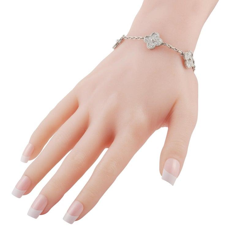 Round Cut Van Cleef & Arpels Alhambra 18K White Gold 2.42 Ct Diamond Bracelet