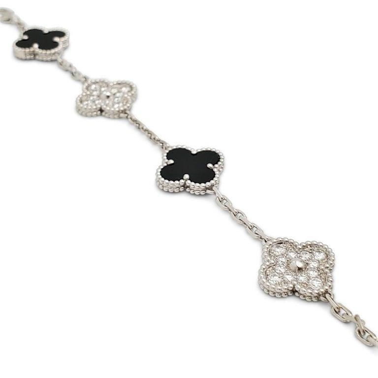 Modern Van Cleef & Arpels Alhambra 18k White Gold Diamond Onyx Bracelet For Sale